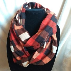 Brown, orange, and red plaid infinity scarf!